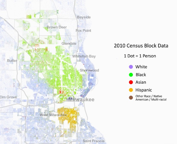 Map of Milwaukee and surrounding areas, showing distinct racial segregation with heavy concentrations of African Americans in the northwest, Latinos in the south, and whites along the eastern Lake Michigan coast.